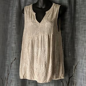 Altar'd State Ivory Cream Embroidered Tank Top G34